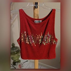 Passport Red Top with lots of Bling sz.L